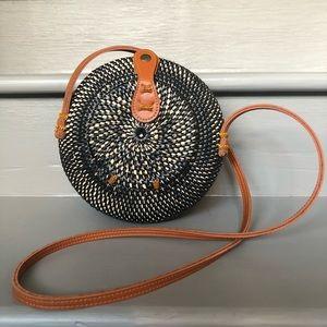 Handbags - Tan and Black Round Rattan Straw Crossbody Purse